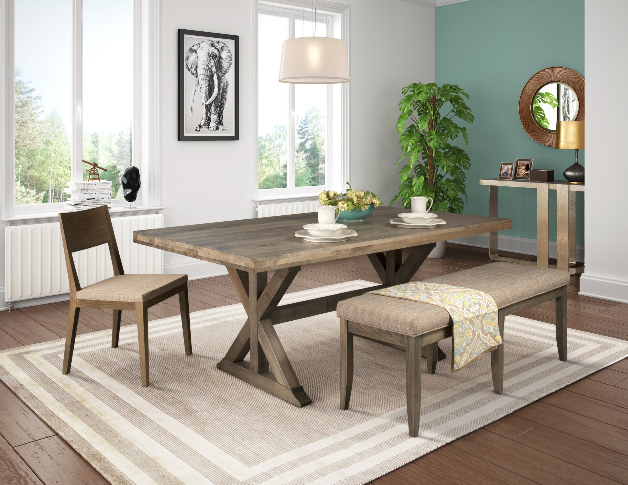 Fantastic Weston Table With Bn U 55 Sbr Bench 14 Chair Theyellowbook Wood Chair Design Ideas Theyellowbookinfo
